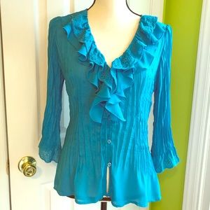 NY Collection Ruffled Long Sleeve Blouse